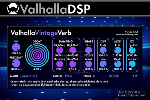 Valhalla.DSP Valhalla VintageVerb.v1.7.1 PC MAC后现代混响